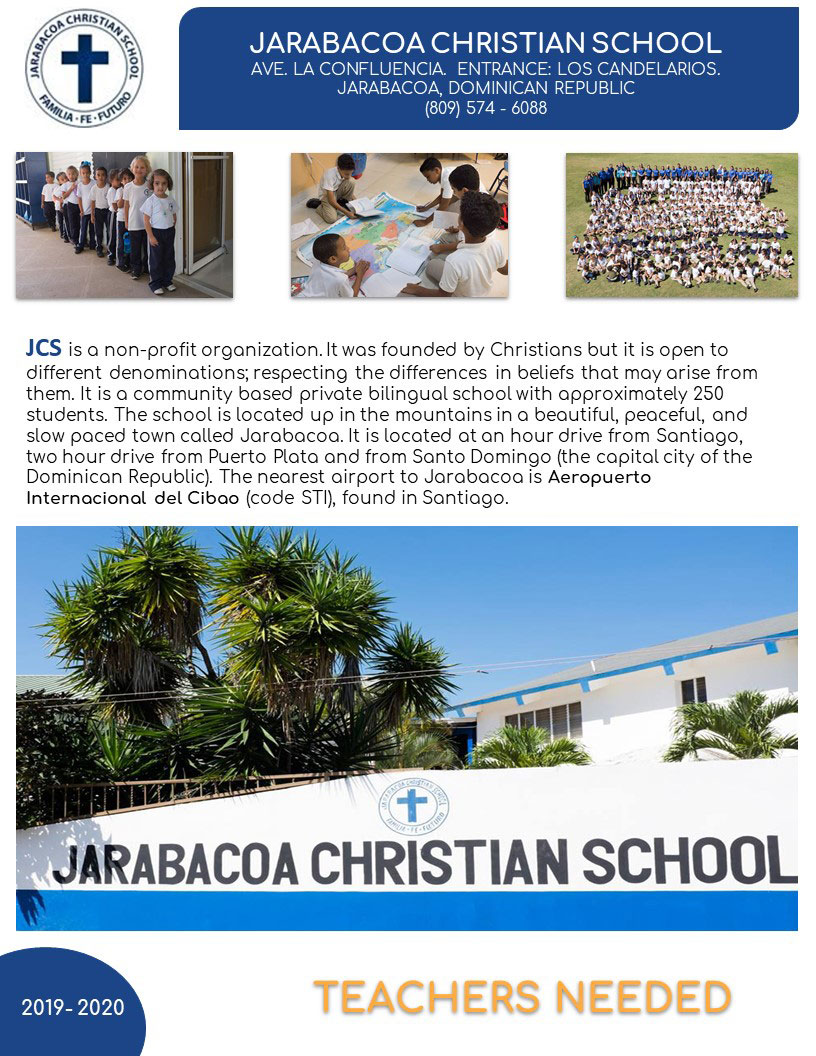 Jarabacoa Christian School - teachers needed