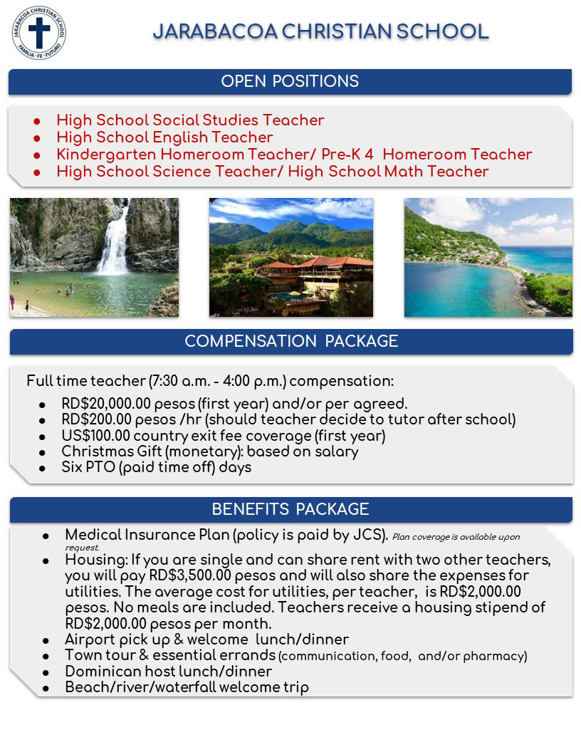 Jarabacoa Christian School - teacher positions
