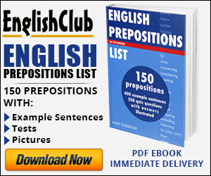 English Prepositions List - available for immediate download