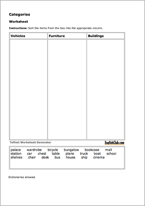Printables Free Vocabulary Worksheet Maker worksheet generator tefl net sorting 3 columns