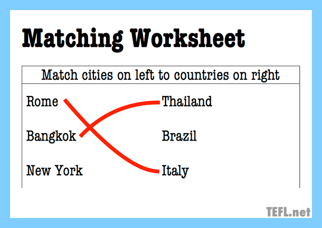 matching worksheet concept