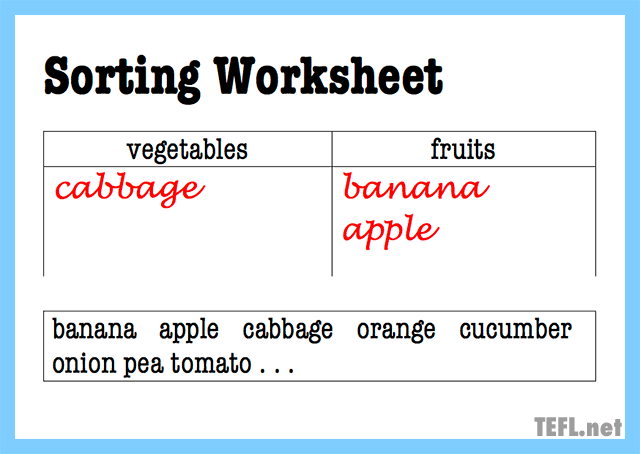 sorting worksheet concept