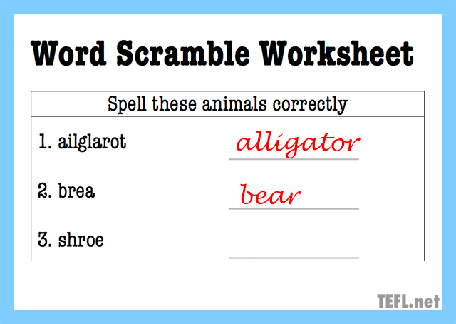 word scramble worksheet concept